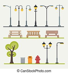 plat, extérieur, landscapes., lumière, poteaux, illustration, vecteur, construction, éléments