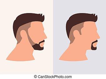 plat, faner, coupes cheveux, dessin animé, figure, homme