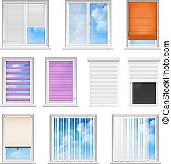 plat, fenêtre, ensemble, abat-jour, coloré