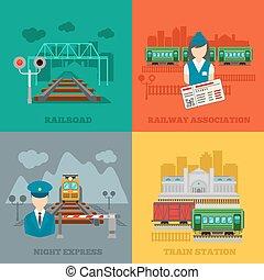 plat, ferroviaire, ensemble, concepts