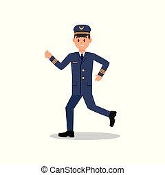 plat, fonctionnement, jeune, isolé, courant, vecteur, conception, action., professionnel, avion, aviateur, uniform., pilote