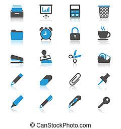 plat, fournitures, reflet, icônes bureau