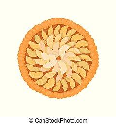 plat, fraîchement, fruit, sommet, tarte, illustration, theme., coupé, culinaire, pommes, vecteur, délicieux, vue., cuit, cake.