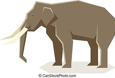plat, géométrique, éléphant asiatique