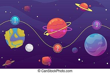 plat, galaxie, sky., illustration, fond, planètes, solaire, vecteur, espace