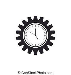 plat, gestion, engrenage, horloge, isolated., symbole., illustration, vecteur, temps, icône, design.