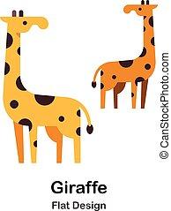 plat, girafe, icône