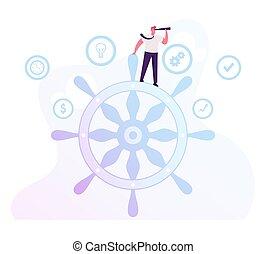 plat, gouvernement, direction, défi, business, rester, énorme, regarder, verre., carrière, concept., direction, constitué, reussite, homme affaires, par, roue, espion, illustration, dessin animé, vecteur, directeur, professionnel