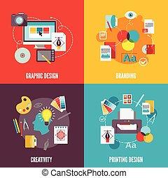 plat, graphisme, icônes