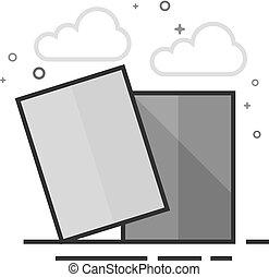 plat, grayscale, -, football, carte, icône