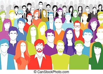plat, groupe, coloré, foule, gens, grand, figure, divers, ethnique