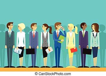 plat, groupe, professionnels, vecteur, ressources humaines