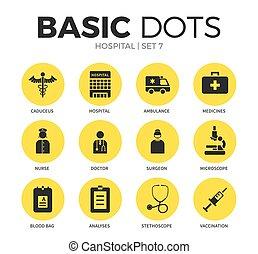 plat, hôpital, vecteur, ensemble, icônes