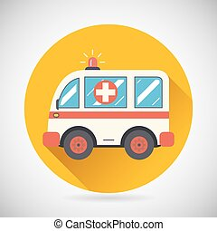 plat, hastens, secours, voiture, guérir, moderne, illustration, vecteur, conception, traitement, fond, ambulance, élégant, icône, symbole, aide