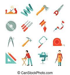 plat, icône, ensemble, charpentier