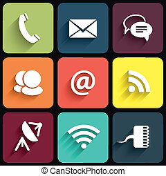 plat, icônes, communication, moderne, illustration, vecteur, conception, shadows., signes