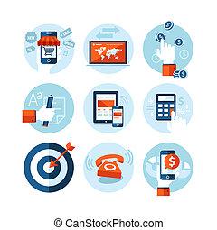 plat, icônes, conception, e-commerce