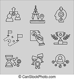 plat, icônes, development., ligne, toile