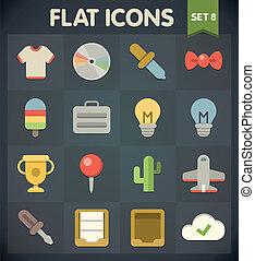 plat, icônes, ensemble, 8