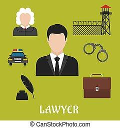 plat, icônes, justice, symboles, avocat, ou