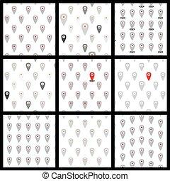plat, icônes, modèle, set., seamless, location., vecteur