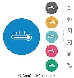 plat, icônes, rond, température, thermomètre, chaud