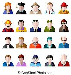 plat, icônes, set., hommes, gens, avatar, femmes, icône