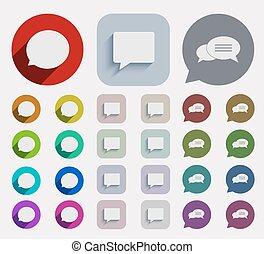 plat, icônes, set., vecteur, bulle discours