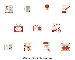 plat, icônes, simple, média, publishing., vecteur
