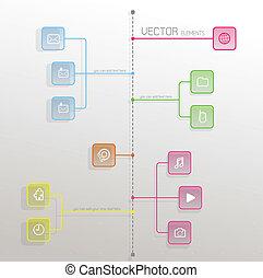 plat, icônes, simple, symboles, bubbles., conception, gabarit
