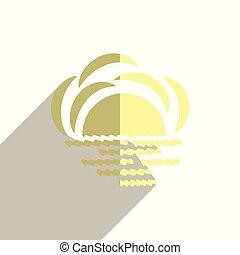 plat, icônes, soleil, illustration, vecteur, shadow.
