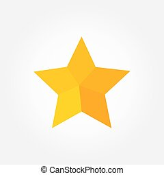 plat, icon., conception, étoile, jaune