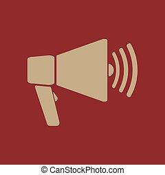 plat, icon., porte voix, bullhorn, symbole.