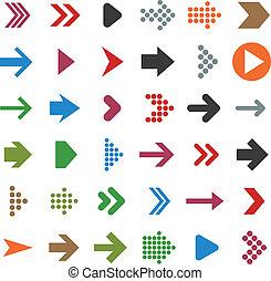 plat, icons., flèche