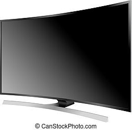 plat, illustration., écran tv, réaliste, lcd, vecteur, plasma