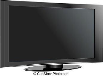 plat, illustration., écran tv, réaliste, vecteur, lcd, plasma
