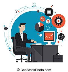 plat, illustration, bureau, homme affaires