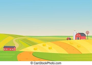 plat, illustration., coloré, eco, agriculture, ensilage, véhicules, ensoleillé, ferme, automne, vecteur, tour, hay., éolienne, paysage, récolte