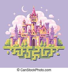 plat, illustration., conte fées, fantasme, fond, château, princesse, paysage