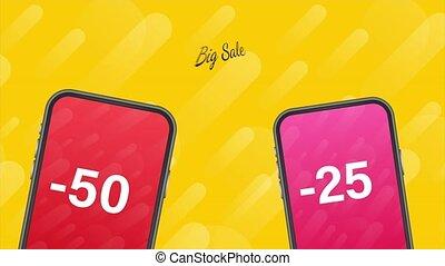 plat, illustration., grand, offre, moderne, concept, mobile., messenger., ligne, mobile, commercialisation, vente, style, téléphone
