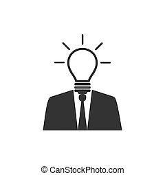 plat, illustration, idée, vecteur, avoir, homme affaires, icon., design.