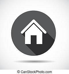 plat, illustration., long, vecteur, maison, shadow., icône