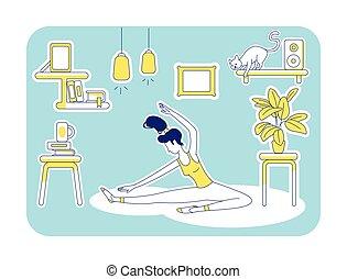 plat, illustration, maison, yoga
