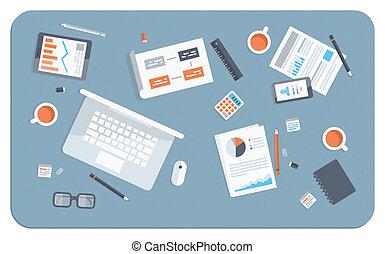 plat, illustration, réunion, business