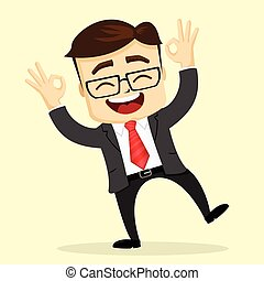 plat, illustration., sourire., directeur, vecteur, homme affaires, ou, man., heureux