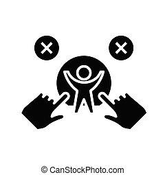 plat, illustration, superhero, icône, noir, vecteur, symbole, glyph, signe., concept