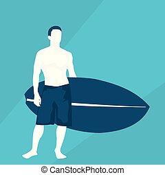 plat, illustration, surfeur