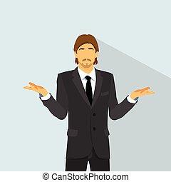 plat, inattendu, non, question, confondu, haut, idées, paume, douteux, homme affaires, prise, main, expression, geste, homme