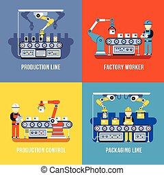 plat, industrie, ensemble, ouvrier, ligne, usine, production, vecteur, concepts, fabrication