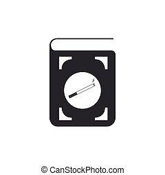 plat, isolated., illustration, cigarette, vecteur, icône, livre, design.